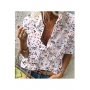 Summer Hot Trendy Floral Printed Short Sleeve V-Neck Loose Shirt