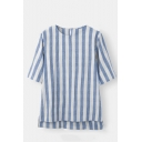 New Trendy Classic Striped Printed Round Neck Half Sleeve Linen Loose T-Shirt