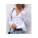 Womens New Stylish Long Sleeve Simple Plain Button Down Sun Protection Casual Cotton White Blouse Top