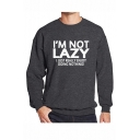 Mens Simple Fashion Letter I'M NOT LAZY Printed Round Neck Long Sleeve Casual Pullover Sweatshirts