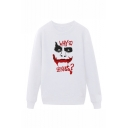 Letter WHY SO SERIOUS Joker Printed Round Neck Long Sleeve Unisex Casual Pullover Hoodie