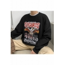 Unisex New Fashion Letter SIGURTS Eagle Printed Long Sleeve Round Neck Casual Pullover Sweatshirts