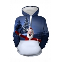 New Trendy Christmas Santa Claus 3D Printed Long Sleeve Loose Fit Navy Drawstring Pullover Hoodie with Pocket