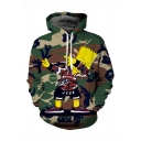 Popular Comic Camouflage Printed Long Sleeve Loose Fit Army Green Drawstring Pullover Hoodie