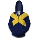 Hot Fashion Colorblock Cross Pattern Cosplay Costume Blue Long Sleeve Zip Up Hoodie