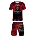 Cool 3D Figure Pattern Round Neck Short Sleeve T-Shirt with Drawstring Waist Sport Shorts Two-Piece Set