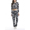Ladies Camouflage Printed Long Sleeve Round Neck Crop Tops with Sport Elastic Loose Pants Co-ords