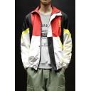 Mens Fashionable Color Block Print Zip Closure Lapel Collar Long Sleeve Loose Jacket Coat