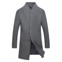 Mens Simple Plain Button Front Stand Collar Long Sleeve Longline Sweatshirt Coat
