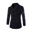 Men's Popular Notched Lapel Collar Double-Breasted Plain Casual Longline Peacoat