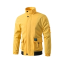 Men's Stylish Simple Plain Long Sleeve Stand Collar Zip Placket Pockets Detail Casual Jacket