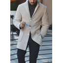 Men's New Stylish Plain Notched Lapel Collar Long Sleeve Single Breasted Beige Peacoat