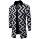 Mens Unique Zigzag Striped Print Stand Collar Long Sleeve Open Front Casual Jacket
