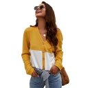 Womens Colorblock Print V Neck Long Sleeve Open Front Knot Cardigan