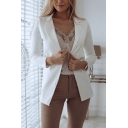 Plain Lapel Collar Long Sleeve Open Front Tailored Blazer