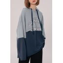 Hot Fashion Colorblock Patched Letter Printed Long Sleeve Loose Fit Trendy Unisex Drawstring Hoodie