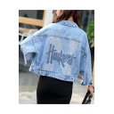 Simple Sequined Letter Printed Denim Cropped Jacket Coat with Pocket