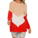 Ladies Colorblock Print Round Neck Ribbed Knit Long Drop Sleeve Slouchy Sweater