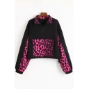 Leopard Panel Lapel Collar Half-Zip Closure Big Flap Pocket Black Track Jacket