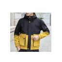 Mens Trendy Color Block Print Zipper Pocket Long Sleeve Zip Up Casual Hooded Workwear Jacket