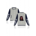 Mens New Arrival Figure Printed Rib Stand Collar Long Sleeve Single Breasted Unisex Baseball Jacket