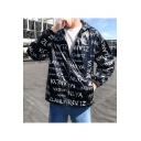 Mens New Trendy Letter NLYA Print Long Sleeve Windbreaker Zip Up Hooded Jacket