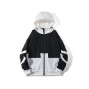 Men's New Stylish Colorblock Letter THRASHER Print Long Sleeve Hooded Zip Up Casual Jacket