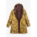 New Trend Creative Printing Linen Long Sleeve Zipper Hooded Padded Down Coat for Women