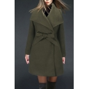 Women Winter Stylish Plain Lapel Collar Tie Waist Longline Woolen Coat