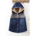 Vintage Tribal Print Sleeveless Single Breasted Hooded Longline Cotton Vest