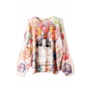 Lovely Candy Kitty Print Round Neck Bloomer Sleeve Boxy Sweater for Women