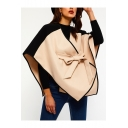 New Fashion V-Neck Colorblocked Tied Belt Wool-Blend Asymmetric Cloak Cape for Women