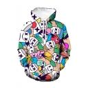 Hot Popular DJ Cartoon All-Over Printed Drawstring Hooded Long Sleeve Loose Fit Pullover Hoodie