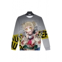 Hot Fashion Comic Girl 3D Printed Round Neck Long Sleeve Loose Fit Casual Pullover Sweatshirts