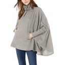 Hot Popular Irregular Long Sleeve Stand Collar Gray Cape Pullover Sweatshirt With Pockets