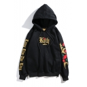 Unisex Street Trendy Letter Floral Embroidered Long Sleeve Hip Pop Trendy Pullover Hoodie