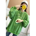 New Popular Letter Avocado Pattern Long Sleeve Loose Pullover Hoodie