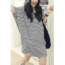 Womens Summer Hoodie Batwing Sleeve Striped Loose Sweatshirt Mini Dress