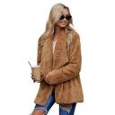 Chic Plain Long Sleeve Lapel Collar Longline Plush Coat