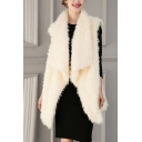 Women's New Fashion Plain Fold-Over Collar Sleeveless Faux Fur Longline Vest