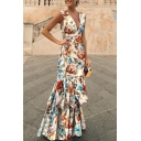 Womens Sexy V-Neck Sleeveless Floral Print Flounce-Tier Asymmetrical Sheath Boho Maxi Dress