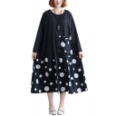 Womens Round Neck Long Sleeve Polka Dot Print Pockets Black Loose Swing Shift Maxi Dress