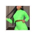 Women's Loose Plain Long Sleeve Crop Pullover Sweatshirt