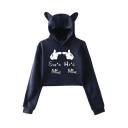 Lovely Cartoon Cat Ear Long Sleeve SHE's MINE HE's MINE Letter Cartoon Hands Pattern Cropped Hoodie