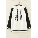 Cute Cat Embroidered Color Block Stripe Long Sleeve Pullover Casual Hoodie With Pocket