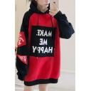 MAKE ME HAPPY Letter Printed Color Block Long Sleeves Long Oversize Hoodie