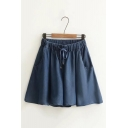 Simple Plain Draw Cord Double Pocket Wide Leg Tencel Denim Culottes Shorts