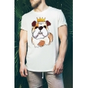 Summer Young Mens Short Sleeve Round Neck Cute Crown Dog Printed Leisure Loose Cotton T-Shirt