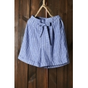 Summer Hot Stylish Vertical Striped Bow Tie Turn Up Casual Loose Wide Leg Shorts