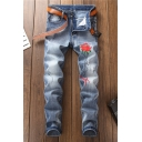 Men's Trendy Floral Embroidery Pattern Light Blue Vintage Washed Trendy Ripped Jeans